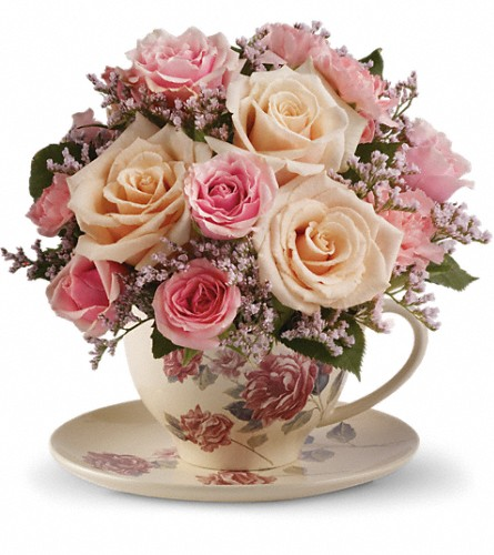 Teleflora's Victorian Teacup Bouquet in Meadville PA, Cobblestone Cottage and Gardens LLC