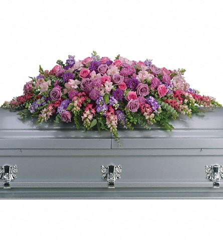 Lavender Tribute Casket Spray in Bakersfield CA, White Oaks Florist