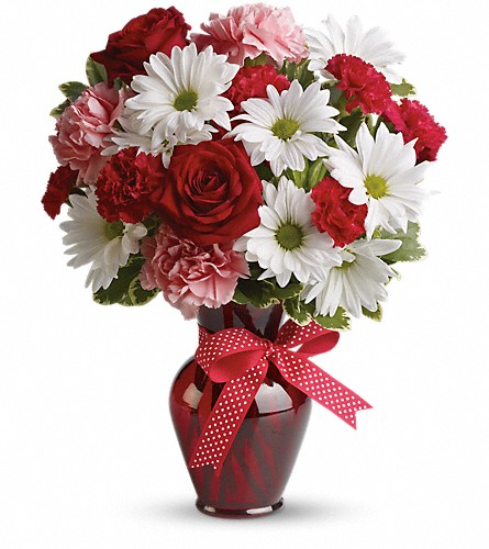 Hugs and Kisses Bouquet with Red Roses in Norwich NY, Pires Flower Basket, Inc.