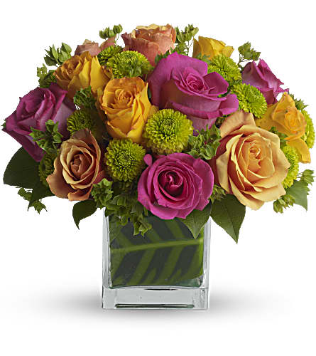 Teleflora's Color Me Rosy Bouquet in New Westminster BC, Paradise Garden Florist