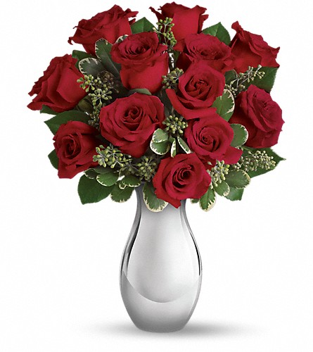 Teleflora's True Romance Bouquet with Red Roses in Vancouver BC, Gardenia Florist