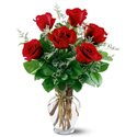 6 Red Roses Vased in Big Rapids MI, Patterson's Flowers, Inc.