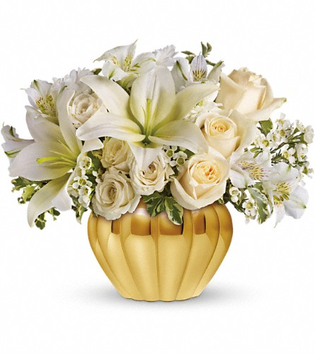 Teleflora's Touch of Gold in Brooklyn NY, Artistry In Flowers