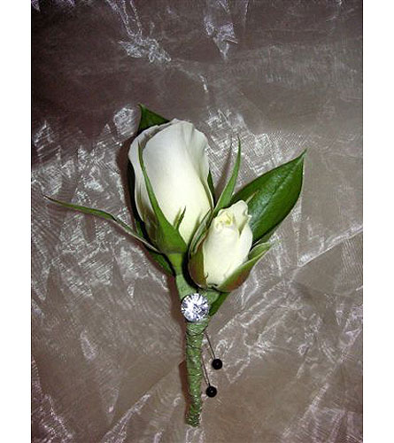 White rose Boutoniere with Gem$15 in West Los Angeles CA, Westwood Flower Garden