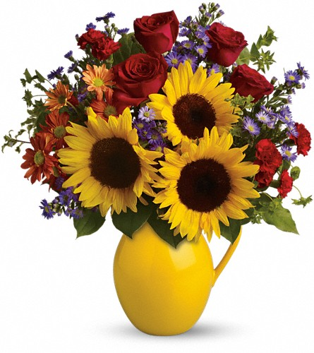 Teleflora's Sunny Day Pitcher of Joy in Kent OH, Richards Flower Shop