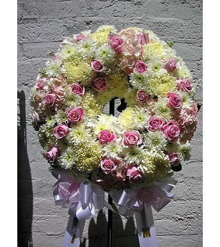 Pastel Wreath Tribute in West Los Angeles CA, Westwood Flower Garden