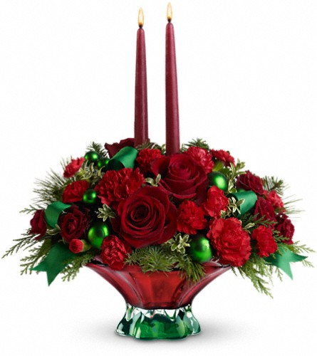 Teleflora's Joyful Christmas Centerpiece in Kent OH, Richards Flower Shop