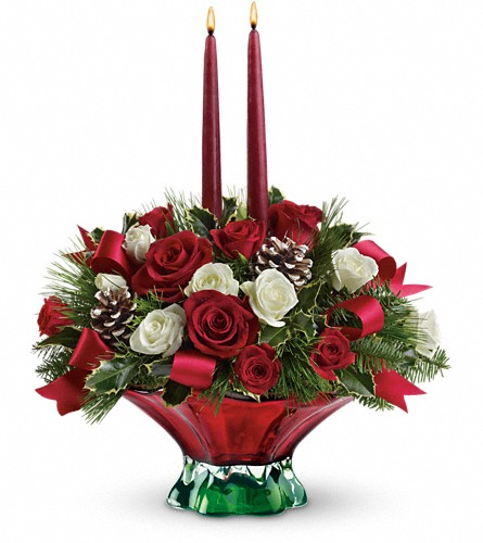 Teleflora's Colors of Christmas Centerpiece in Oklahoma City OK, Array of Flowers & Gifts