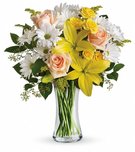 Teleflora's Daisies and Sunbeams in Corpus Christi TX, Tubbs of Flowers