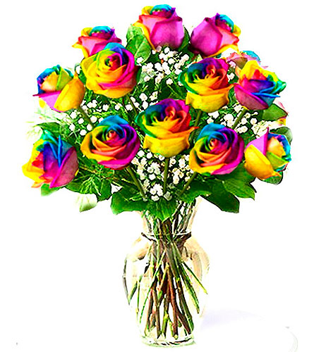 FF132 Tye-dyed Rainbow Roses' in Oklahoma City OK, Array of Flowers & Gifts