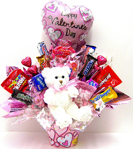 CB284 ''Beary Sweet Valentines Candy Bouquet'' in Oklahoma City OK, Array of Flowers & Gifts