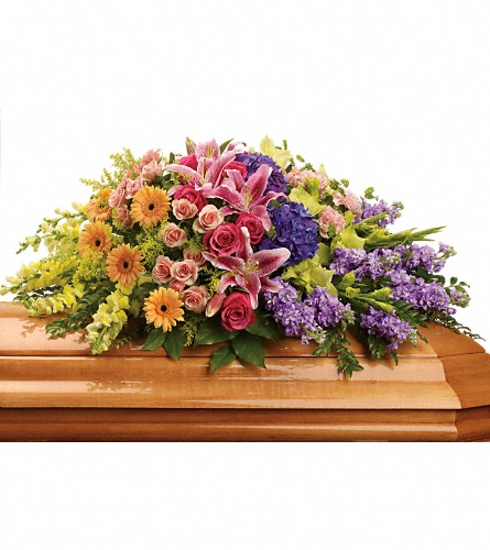 Garden of Sweet Memories Casket Spray in Bakersfield CA, White Oaks Florist