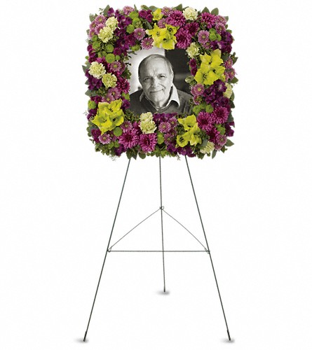 Mosaic of Memories Square Easel Wreath in Orlando FL, Orlando Florist