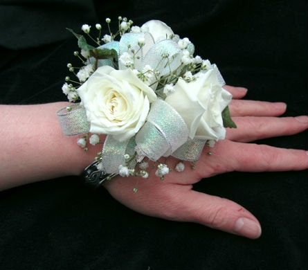 Classic white rose wrist corsage in portland me dodge the florist view larger classic white rose wrist corsage mightylinksfo