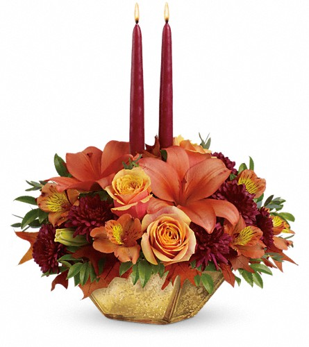 Teleflora's Harvest Gold Centerpiece in Oklahoma City OK, Array of Flowers & Gifts