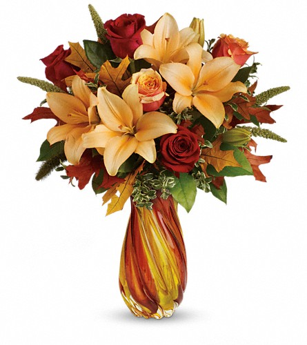 Teleflora's Treasures of Fall Bouquet in Oklahoma City OK, Array of Flowers & Gifts