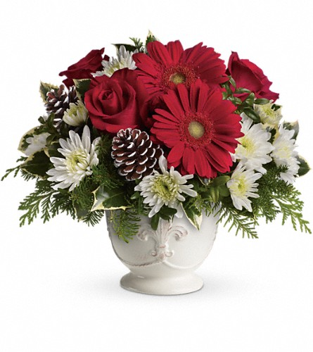 Teleflora's Simply Merry Centerpiece in Bayonne NJ, Blooms For You Floral Boutique