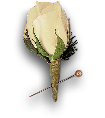 Miniature White Rose Boutonniere in Albany NY, Emil J. Nagengast Florist