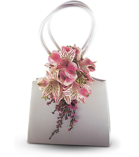 Ruffled Pinks Purse Corsage in Orlando FL, Harry's Famous Flowers