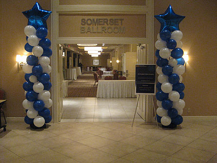 Blue & White Balloon Column in Somerset NJ, Flower Station