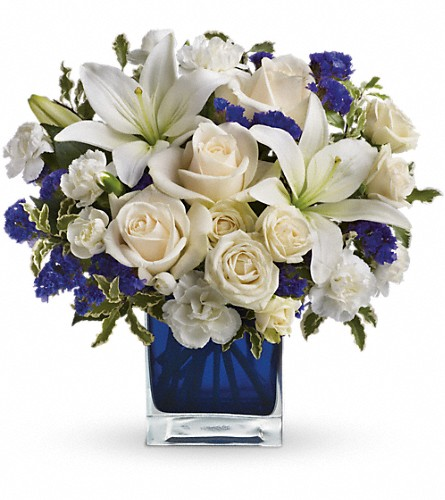 Teleflora's Sapphire Skies Bouquet in Morgantown PA, The Greenery Of Morgantown