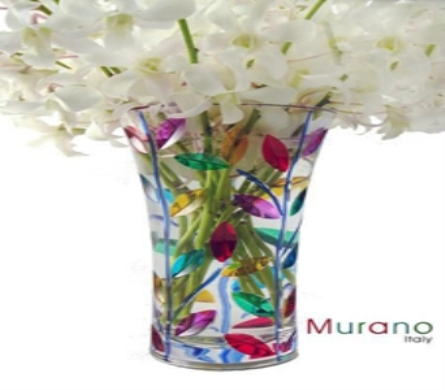 Murano Laurus Vase with Orchids in San Francisco CA, Hoogasian Flowers