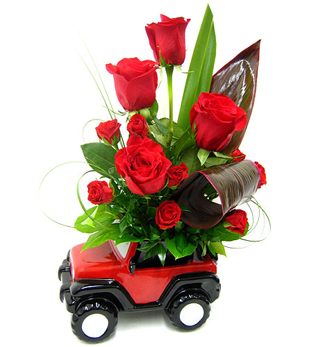 FF136 ''Jeep with Roses Bouquet'' in Oklahoma City OK, Array of Flowers & Gifts