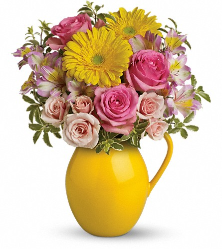 Teleflora's Sunny Day Pitcher Of Charm in Yonkers NY, Beautiful Blooms Florist