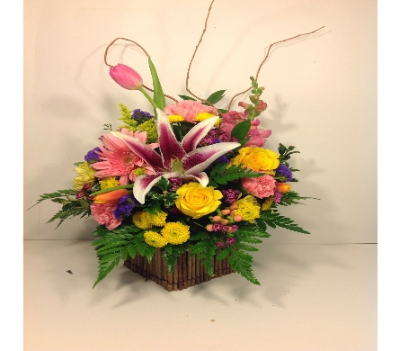 Christine's Spring Wooden Box Bouquet in Columbus OH, OSUFLOWERS .COM