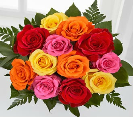 1 Dozen Mixed Color Roses Wrapped in Cellophane in San Clemente CA, Beach City Florist