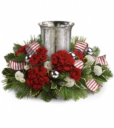 Teleflora's Holly Jolly Centerpiece in West Los Angeles CA, Westwood Flower Garden