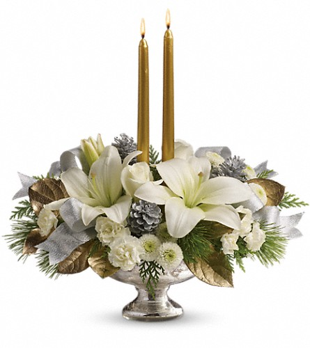 Teleflora's Silver And Gold Centerpiece in West Los Angeles CA, Westwood Flower Garden