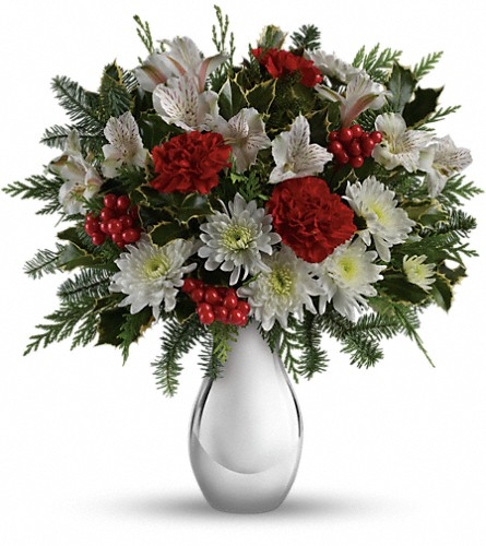 Teleflora's Silver And Snowflakes Bouquet in Farmington NM, Broadway Gifts & Flowers, LLC