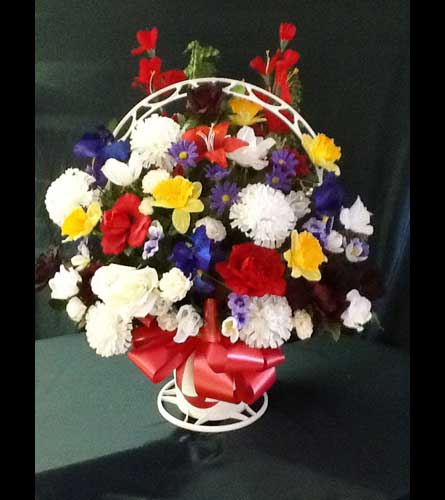 Pensacola FL Florist - Home> Silk Funeral Basket - Medium. View Larger