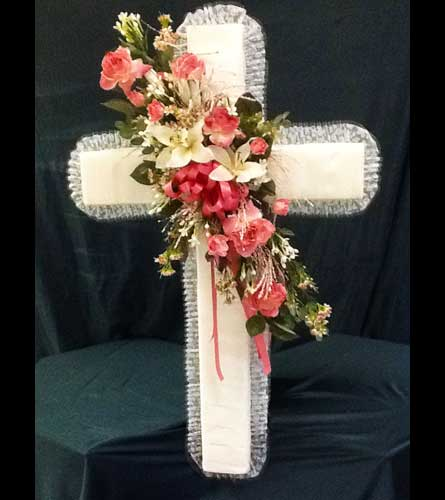 View Larger. Ribbon Cross w/Silk Flowers - Large in Pensacola FL ...