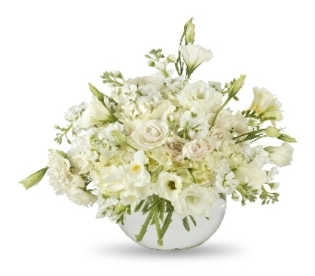 All White Vase Arrangement in Oklahoma City OK, Trochta's