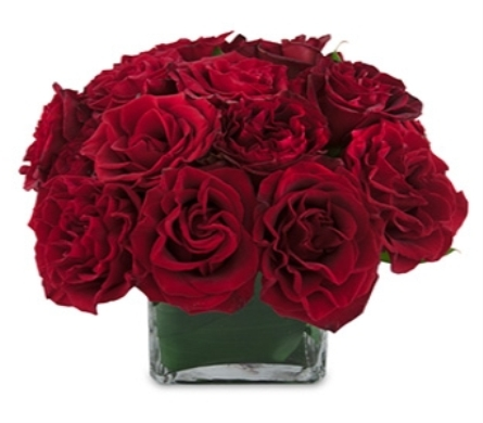 Red Roses In  A Glass Cube in New York NY, A University Floral Design