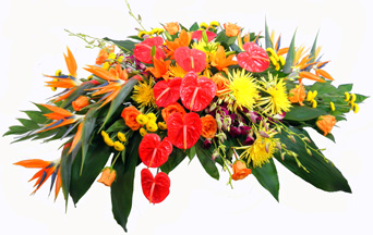 Tropical Paradise Casket Spray in Indianapolis IN, Steve's Flowers & Gifts