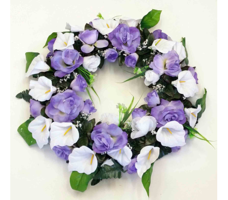 Silk Wreath - Purple & White in Timmins ON, Timmins Flower Shop Inc.