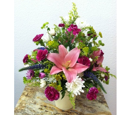 Beautiful Lily Bucket Arrangement in Arcata CA, Country Living Florist & Fine Gifts