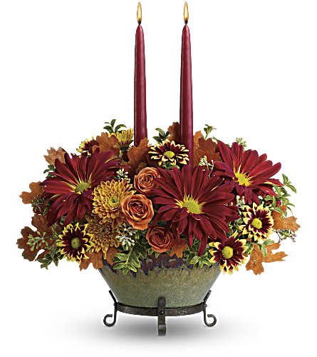 Teleflora's Tuscan Autumn Centerpiece in Homer NY, Arnold's Florist & Greenhouses & Gifts