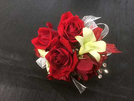 Red Spray Roses Wrist Corsage in Belleville ON, Live, Love and Laugh Flowers, Antiques and Gifts
