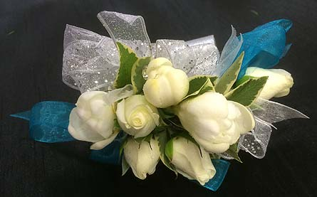 Mixed Whites and Teal Wrist Corsage in Belleville ON, Live, Love and Laugh Flowers, Antiques and Gifts