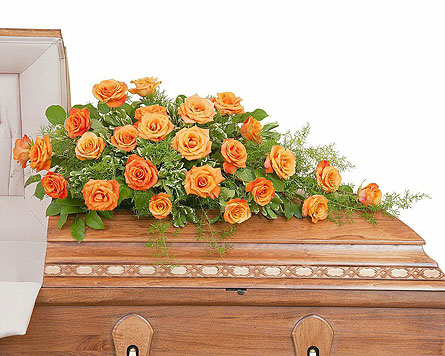 Orange Rose Casket Spray in Edmonton AB, Flowers By Merle