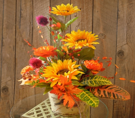 Fall Silk Arrangement in Utica NY, Chester's Flower Shop And Greenhouses