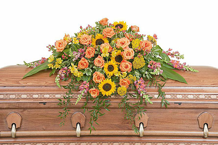 Heaven's Sunset Casket Spray in Amherst NY, The Trillium's Courtyard Florist