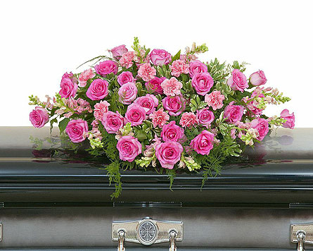 Peaceful Pink Casket Spray in Edmonton AB, Flowers By Merle