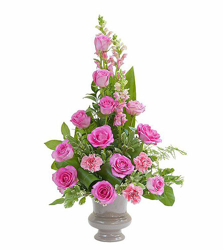 Peaceful Pink Small Urn in Oshkosh WI, Flowers & Leaves LLC