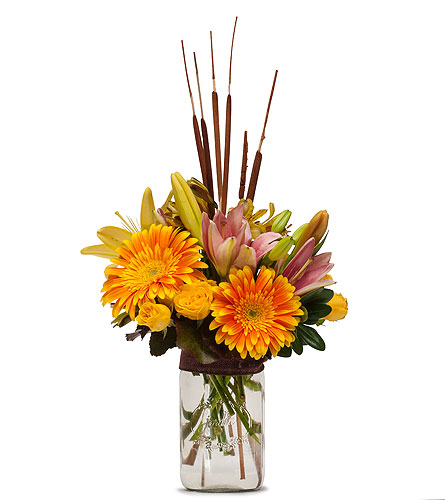 Sunshine and Cattails in Amherst NY, The Trillium's Courtyard Florist