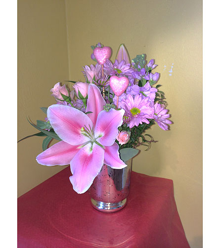 Pretty Pink Valentine Bouquet in Hales Corners WI, Barb's Green House Florist